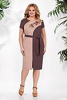 Женское летнее льняное коричневое большого размера платье БагираАнТа 701 52р.
