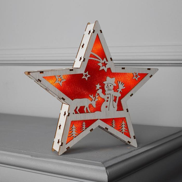 """Фигура дерев. """"Звезда со Снеговиком"""", 22х22х4 см, AАA*2 (не в компл.), 6 LED, красный фон"""