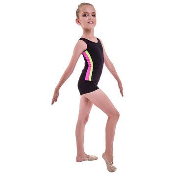 Майка гимнастическая «Плеяда», размер 36, цвет чёрный/розовый/лимон