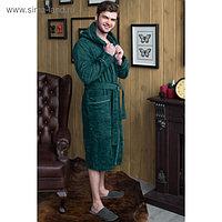 Халат мужской с капюшоном, размер 60, зелёный, махра