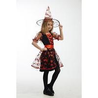 Карнавальный костюм 'Ведьма в красном', платье, головной убор, пояс, р. 34, рост 134 см