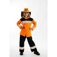 Карнавальный костюм 'Пожарный', брюки, куртка, головной убор, р. 134 см