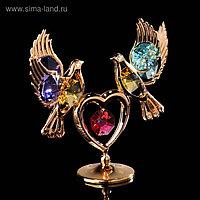 Сувенир «Голуби на сердце», 3×9,5×8 см, с кристаллами Сваровски