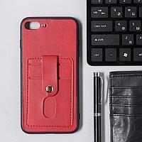 Чехол LuazON для iPhone 7 Plus/8 Plus, с отсеками под карты, кожзам, красный
