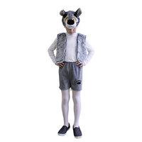 Карнавальный костюм 'Волчонок плюш', 3 предмета маска-шапочка, жилетка, шорты. Рост 122-128 см