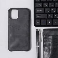 Чехол LuazON для iPhone 11 Pro, с отсеком под карты, кожзам, черный