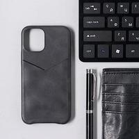 Чехол LuazON для iPhone 12 mini, с отсеком под карты, кожзам, черный