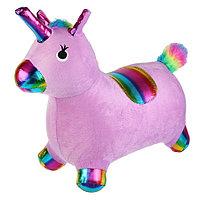Прыгун надувной Единорог с чехлом фиолетовый