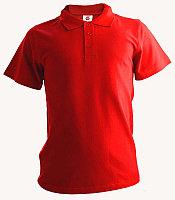 Рубашка поло красная, 200гр, 100% хлопок, вязка
