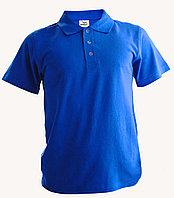 Рубашка поло синяя, 200гр, 100% хлопок, вязка