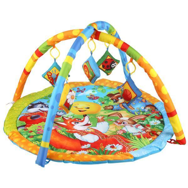 Умка Развивающий коврик с мягкими игрушками на подвеске «Колобок»