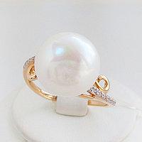 Кольцо с жемчугом и фианитом