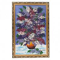 """Картина из каменной крошки """"Красивая сирень"""" багет бронза 89х59 см синий фон"""
