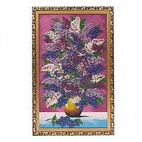 """Картина из каменной крошки """"Букет сирени на столе"""" 89х59 см багет бронза малиновый фон"""