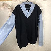 Рубашка голубая с кофтой (обманка) №0212