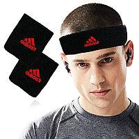 Спортивная повязка на голову и напульсники на руку черная с красной надписью