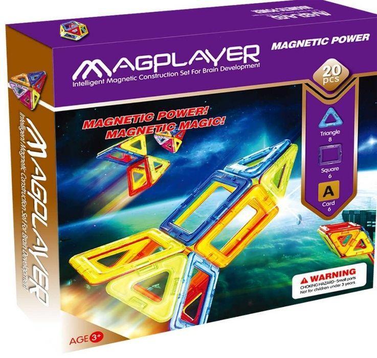 MagPlayer Детский магнитный конструктор 20 элементов деталей - фото 1
