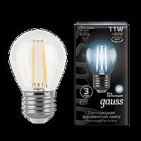 Лампа Gauss Filament Шар 11W 830lm 4100К Е27 LED