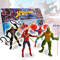 Детский набор фигурок Человек паук Spider man с подвижными ногами и руками с светоэффектом 4 фигурок 02 16 см