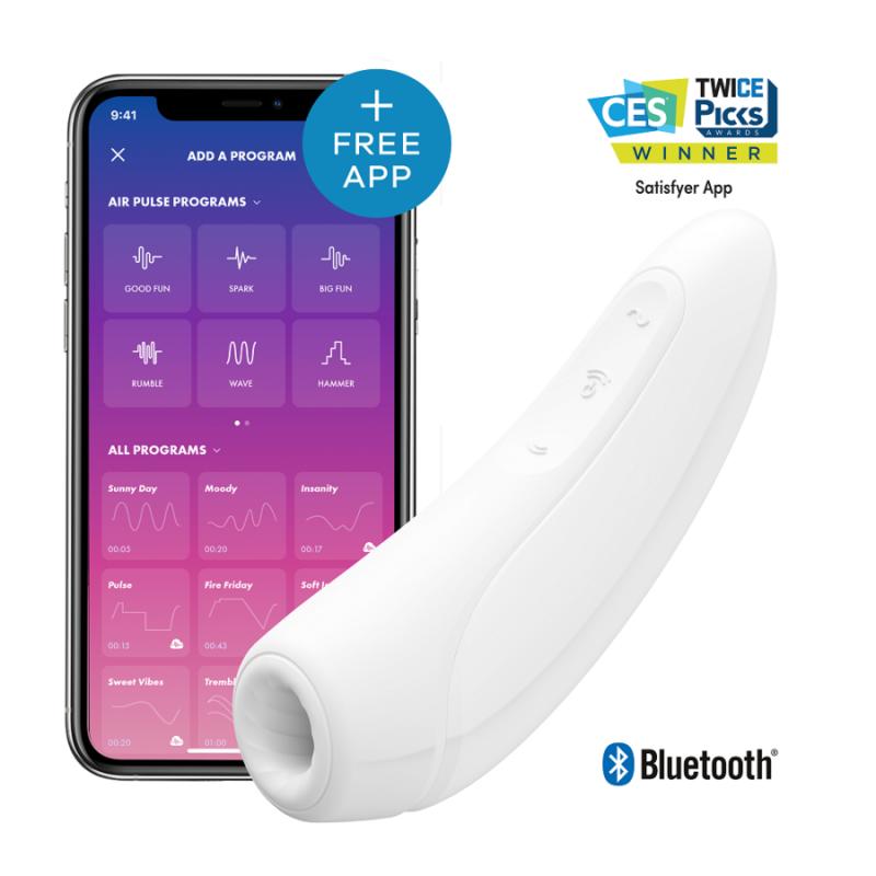 """Вакуумно-волновой стимулятор с вибрацией """"Satisfyer Curvy 1+"""" (с управлением через смартфон), цвет белый"""