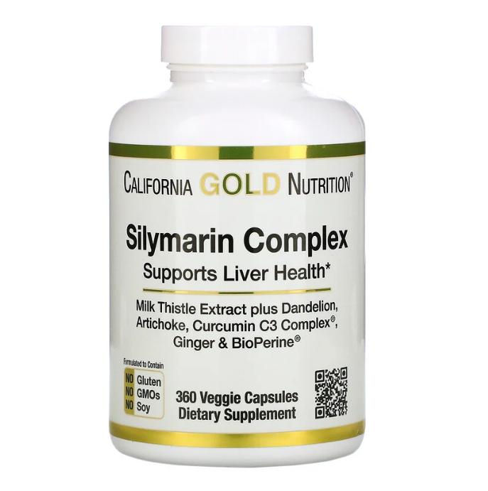 California Gold Nutrition, силимариновый комплекс, для здоровья печени, расторопша, куркумин, артишок, одуванч