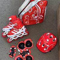Роликовые коньки раздвижные Красный (шлем и защита в комплекте)