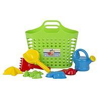 Песочный набор из 8 предметов: сумка-корзина, лейка-мини 0,5 Л, совок L16см. грабли, формочки 4 шт.