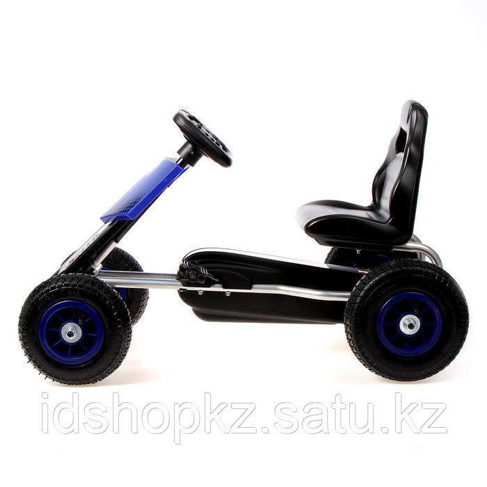 Веломобиль HOT CAR, пневматические колеса, цвет синий - фото 2