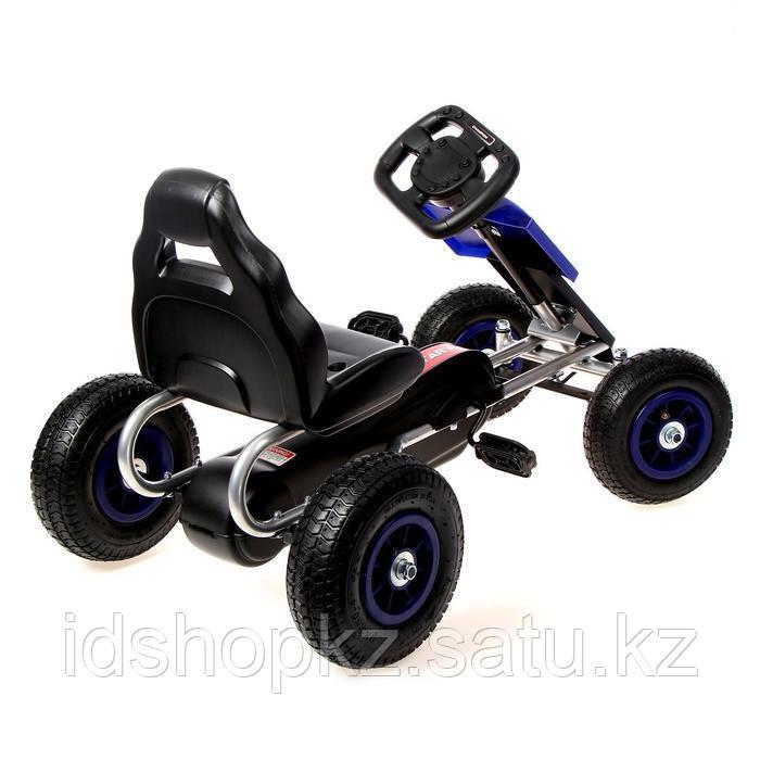Веломобиль HOT CAR, пневматические колеса, цвет синий - фото 3
