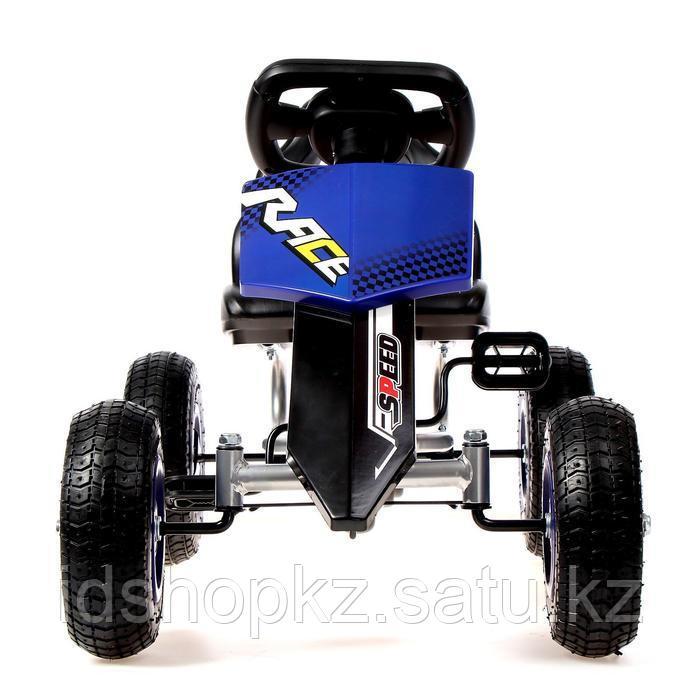 Веломобиль HOT CAR, пневматические колеса, цвет синий - фото 4
