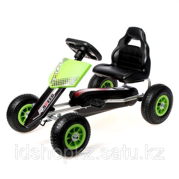 Веломобиль HOT CAR, пневматические колеса, цвет зелёный - фото 1