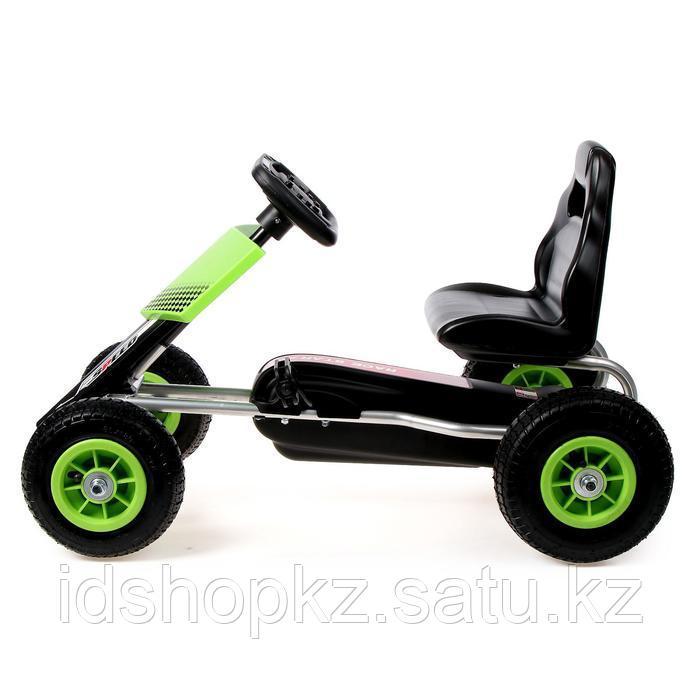 Веломобиль HOT CAR, пневматические колеса, цвет зелёный - фото 2