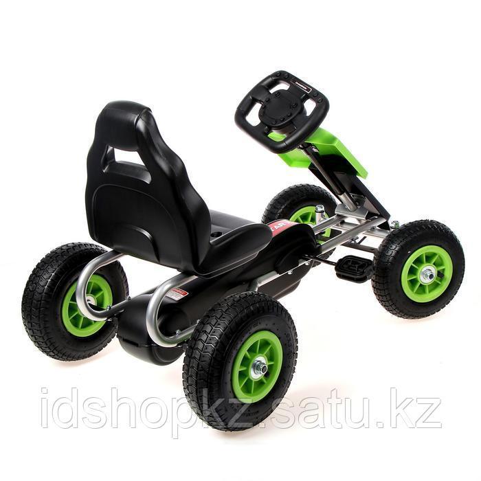 Веломобиль HOT CAR, пневматические колеса, цвет зелёный - фото 3