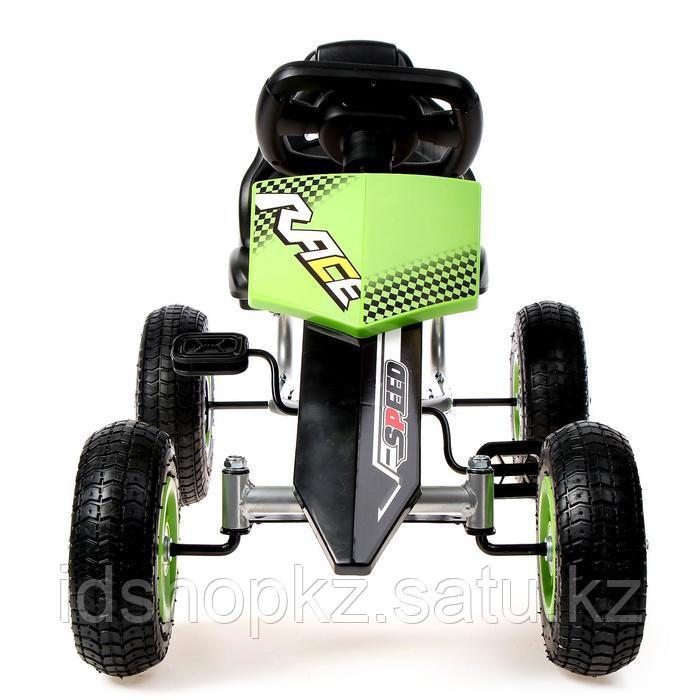 Веломобиль HOT CAR, пневматические колеса, цвет зелёный - фото 4