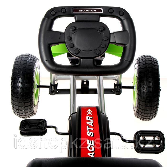 Веломобиль HOT CAR, пневматические колеса, цвет зелёный - фото 6