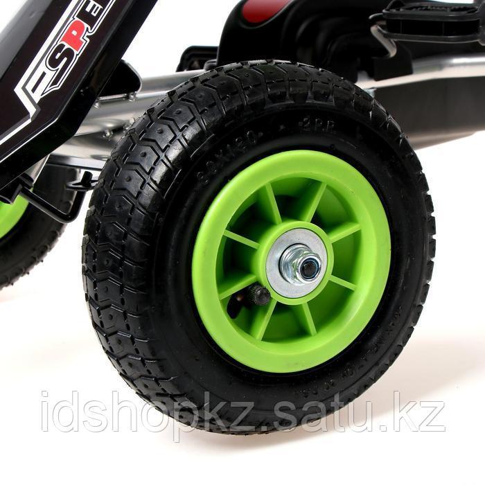 Веломобиль HOT CAR, пневматические колеса, цвет зелёный - фото 7