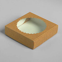 Подарочная коробка сборная с окном, 11,5 х 11,5 х 3 см, крафт