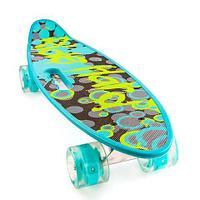 Скейт Penny Board {Пенни Борд} с подсветкой колёс на алюминиевой платформе (Голубой / С принтом)