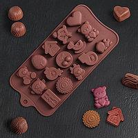Форма для льда и шоколада Доляна «Счастье есть», 21×11 см, 15 ячеек