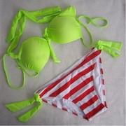 Купальник-бикини -ярко-зеленый-салатовый,низ красно-белая полоска - фото 2