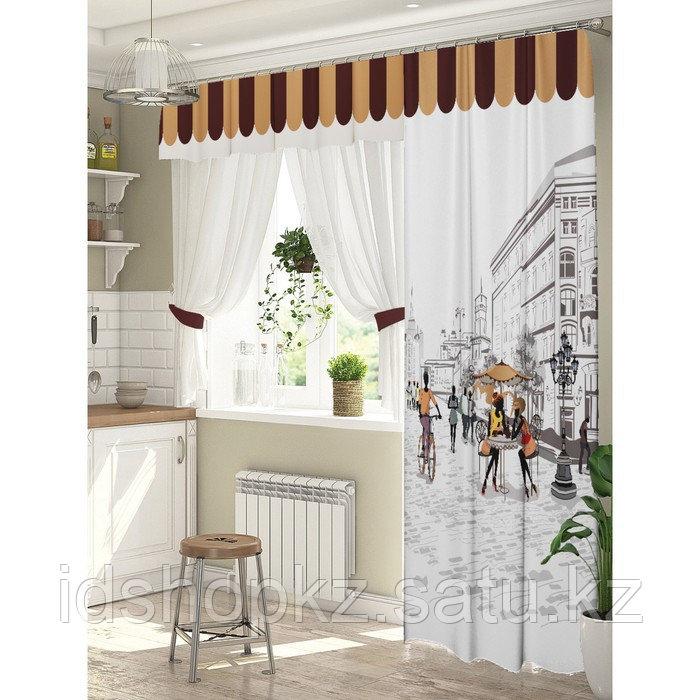 Комплект штор для окон с балконной дверью «Любимый город» штора 147х267 см, тюль 294х160 см - фото 1
