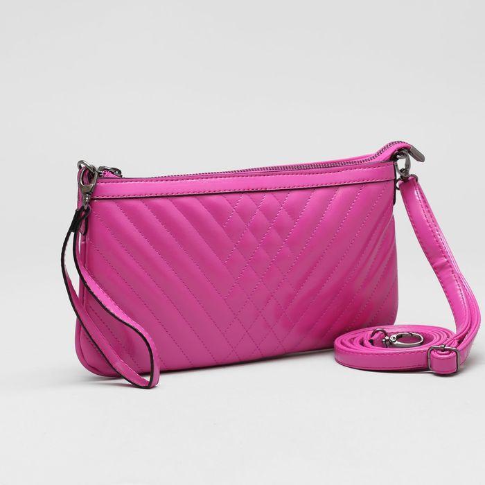 Клатч женский, отдел на молнии, наружный карман, с ручкой, регулируемый ремень, цвет фуксия