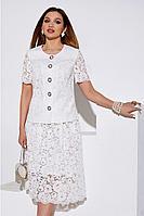 Женский летний кружевной белый нарядный юбочный костюм Lissana 4053 46р.