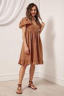 Женское летнее хлопковое коричневое платье Nova Line 50102 кофе 42р.