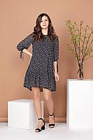 Женское осеннее шифоновое синее платье Соджи 484 синий_и_белый 42р.