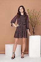 Женское осеннее шифоновое платье Соджи 484 черный_и_красный 42р.