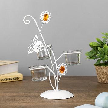 """Подсвечник металл, стекло 3 свечи """"Бабочка и цветок"""" белый 27,3х18х17 см"""