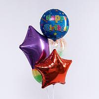 Букет из шаров «С днём рождения. Звезды», фольга, латекс, набор 5 шт.