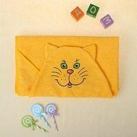 Полотенце-накидка махровое котик, 75x125 см, желтый, Хл, 300 г/м