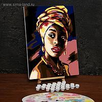 Картина по номерам на холсте с подрамником «Девушка в платке» 30х40 см